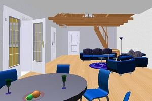 Inside view of a house in 3 dimensional mode
